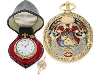 Pocket watch: in museums, the earliest known Gold/enamel clock watch with Orient pearl trim, original box and original key No. 1919, George Prior, London, CA. 1785