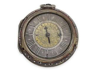 Pocket watch: very early einzeigrige pocket watch with Alarm, Daniel Mussard London, 1686-1689