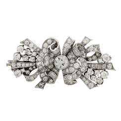 Art Deco diamond brooch (divisible) set with old European cut diamond together approx. 8.9 ct