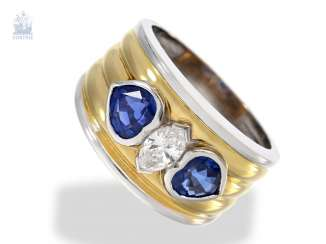 Ring: wide Bicolor gold wrought ring with a very nice Navette diamond and fine sapphire in heart shape, unworn!