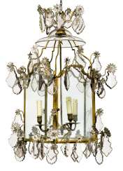 A FRENCH CUT-GLASS AND GILT-BRONZE LANTERN