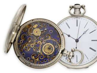 Pocket watch: rarity, extremely rare, large pocket watch for the Chinese market, with enamelled Tixier caliber after Pelaz, Bovet No. 4881, CA. 1860