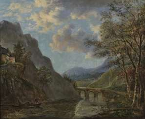 Mountainous river landscape with a stone bridge