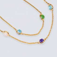 Long gold chain with colored stone cabochons 'Sugarloaf'
