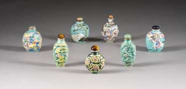 SEVEN SNUFFBOTTLES WITH RELIEF DECOR China