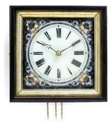 Wall clock with painting on glass