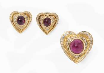 Set: ruby and diamond ring and ear clips