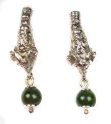 Ram head earrings with jade