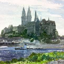 Rudolf Kanka: Meissen with castle mountain, the Cathedral, the Albrechtsburg castle, Lodge, sawmill, and in the foreground the Elbe river. Watercolor on handmade paper.