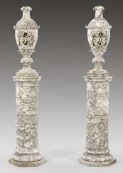 Pair of large Belle Epoque-vases with pedestal bases
