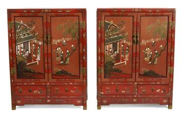 Pair of red lacquered cabinets, with inlaid figure decor