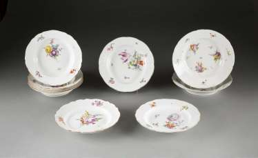 Lot OF SEVEN PLATES 'flower painting' in German, Meissen, 1740-1924