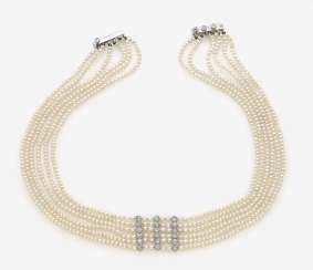 Collier de Chien with pearls and diamonds