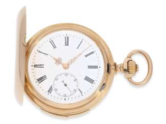 Pocket watch: heavy, very fine red-gold Savonnette with Repetition, excellent quality, Maurice Ditisheim, La Chaux-de-Fonds, No. 13385, delivered to Carl Lehar, a watchmaker in Vienna, about 1900