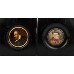 MINIATURE PAINTER 19th century, mixed lot of 2 male portraits,