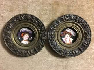 Pair of porcelain dishes in bronze, XIX - n. XX centuries.