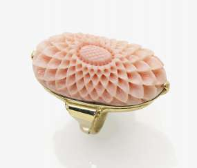 Fancy floral cocktail ring with light pink coral, Germany, 1930s-1940s
