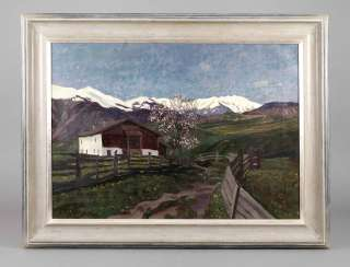 William Black, farmer's house in Ehrwald in summer Alpine pasture with blossoming tree in front of the farmhouse, far distance views over green pastures to the snow mountain backdrop covered High on the horizon, impasto landscape painting in full colour,