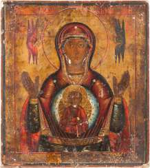DOUBLE-SIDED ICON WITH ST. NICHOLAS OF MYRA AND THE MOTHER OF GOD OF THE SIGN