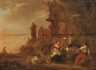 Nicolaes Berchem - Evening landscape of ruins with resting peasants and cattle