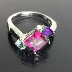 Ladies ring with shining stones: Natural spinel, Aqua Marien, Amethyst in white gold 585 rhodium-plated, very good.