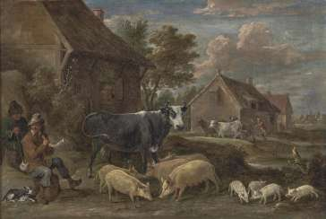 Teniers d. J., David. Village landscape with shepherds and animals