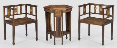 Chinese tea table and Pair of armchairs