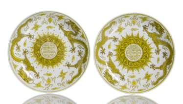 Pair of porcelain plate with dragon decoration in Yellow and brown