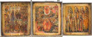 VERY FINE TRIPTYCH WITH THE DESCENT INTO HELL AND RESURRECTION OF CHRIST, OF THE MOTHER OF GOD POKROV, AND EIGHT SELECTED SAINTS