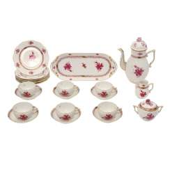 HEREND coffee service for 6 persons 'Apponyi purple', 20. Century