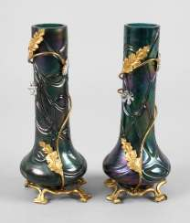Kralik, pair of art Nouveau vases with mount