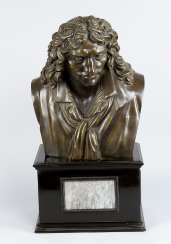 Bronze Bust, Moliere (1622-1673), wooden base with marble, 19. century