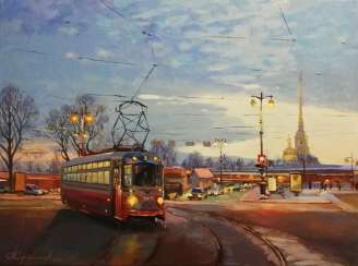 """Evening tram on Petrogradka"""