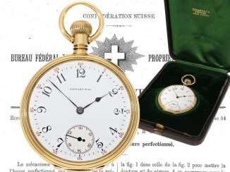Pocket watch: very fine Patek Philippe pocket watch No. 130354, sold to Tiffany in 1905, with original box