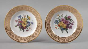 KPM Berlin Pair of ornamental plates with flower painting