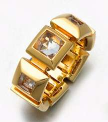 Modern band ring with topazes by Jette Joop