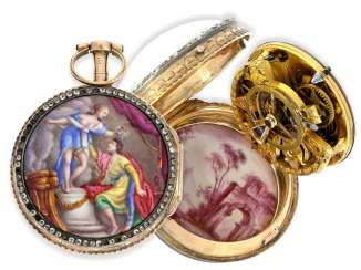 Pocket watch: very fine and very rare ladies Spindeluhr with skeletonised movement, 2 enamel paintings and stone trim, Royal watchmaker, L'Epine a Paris, CA. 1765