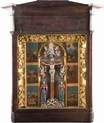 A MONUMENTAL ICON WITH THE PASSION AND THE CRUCIFIXION OF CHRIST IN THE ICON CASE