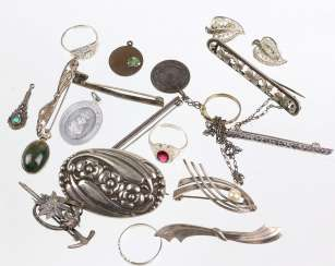Items of antique silver jewelry, among other things,