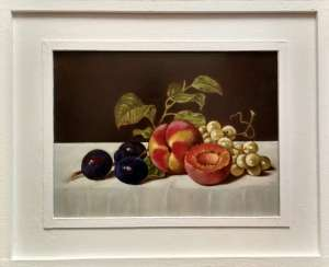 """Still life with peach, plum and grapes"""