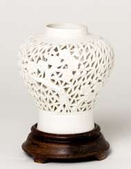 WHITE MEIPING VASE WITH FLORAL DECORATION AND OPEN WALL