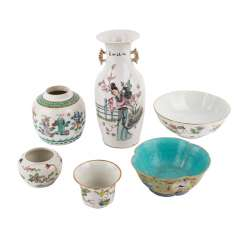 Interesting Group Of 6 Pieces Of Porcelain. CHINA, 19. and 20. Century.