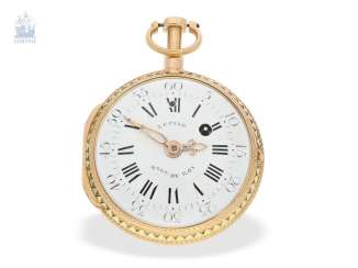 Pocket watch: very fine, two-tone Spindeluhr with repeater à toc, Lepine Hger du Roy No. 278, CA. 1770