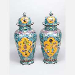 Pair of large imperial Chinese cloisonne vases