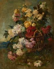 Wicker basket with bouquet of roses