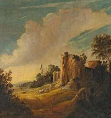 Potter, Pieter Symonsz.. ruins landscape with shepherds.