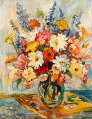 "GEIGER, W., probably Willi (1878-1971), ""Still life with a summer bouquet in a glass vase"","