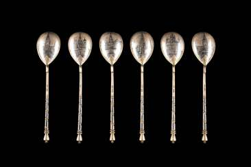 SET OF SIX VINTAGE SIAM STERLING SILVER SPOONS WITH MOSCOW CITY VIEWS