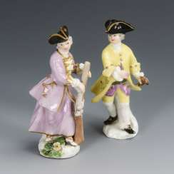 2 miniature figures: huntress and cavalier