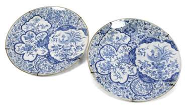 PAIR OF UNDERGLAZE BLUE WALL